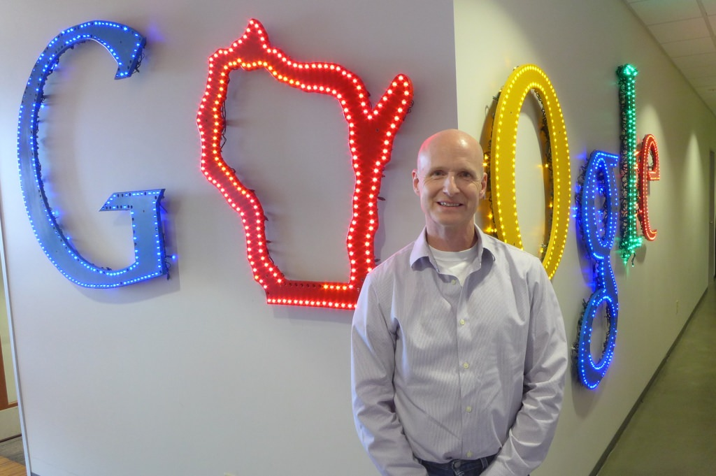 Photo: Jim Laudon in front of Google sign