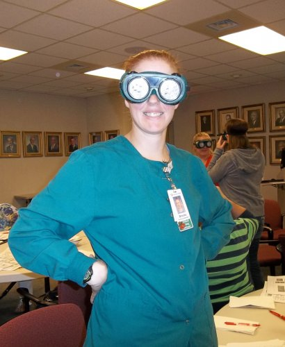 Photo: Brooke Foley wearing low-vision goggles