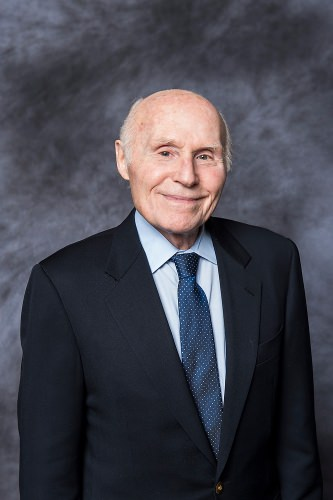 Former U.S. Senator Herb Kohl is pictured in a studio portrait and interview during at the University of Wisconsin–Madison on Feb. 23, 2015. Kohl, who graduated from UW–Madison in 1956, has been selected to receive a 2014 Distinguished Alumni Award, presented by the Wisconsin Alumni Association (WAA). (Photo by Jeff Miller/UW-Madison)