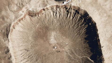 CAPT Satellite image of Meteor Crater in Arizona, caused by an impact about 49,000 years ago.