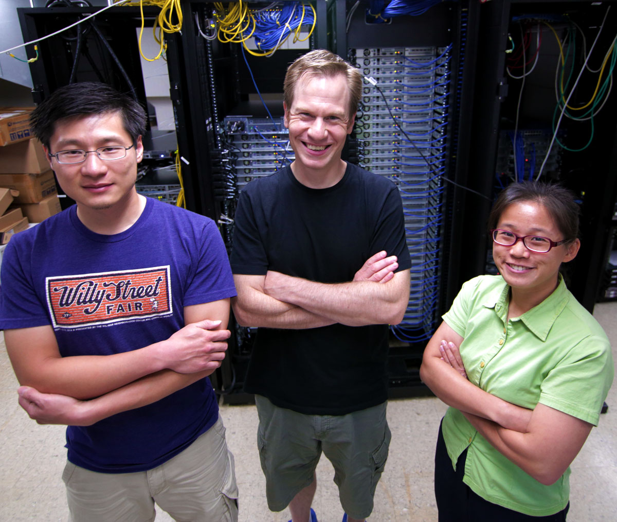 The paper's authors are, from left, Henry Wu, Dane Morgan and Tam Mayeshiba.