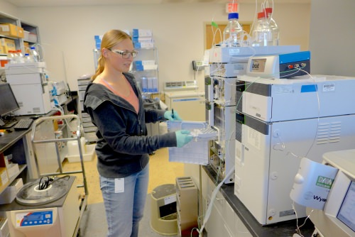 Photo: Arrowhead scientist Amanda Frankiewicz loads samples into a chemical analyzer