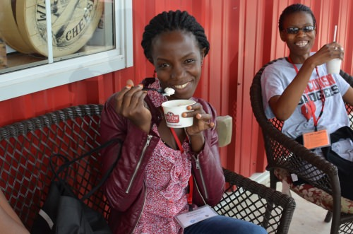 Ugandan Fellow Rashida Nakabuga enjoys ice cream form Sassy Cow Creamery in 2016.