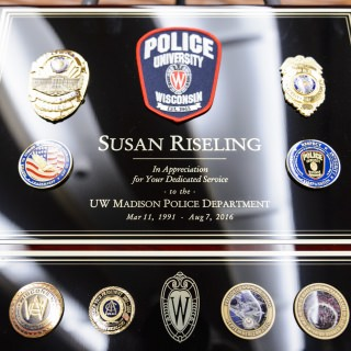 Law enforcement colleagues praised Riseling's steady leadership during challenging times, including the 2011 protests at the Capitol.