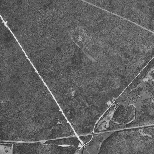 A detail of the aerial photo, highlighting the path cleared by the crashing jet, which was more than 180 feet wide and 150 feet long.