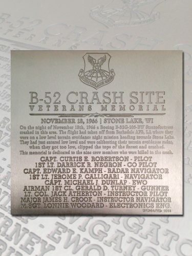 Tom Sybert hopes to post this 11-inch-square plaque memorializing nine U.S. airmen at the site where their B-52 bomber crashed on Nov. 18, 1966, near Hauer in northwestern Wisconsin.