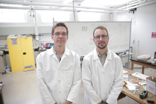Associate Professor Michael Arnold and graduate student Gerald Brady, the lead author on the Science Advances paper. By making carbon nanotube transistors that, for the first time, surpass state-of-the-art silicon transistors, the researchers have achieved a big milestone in nanotechnology.