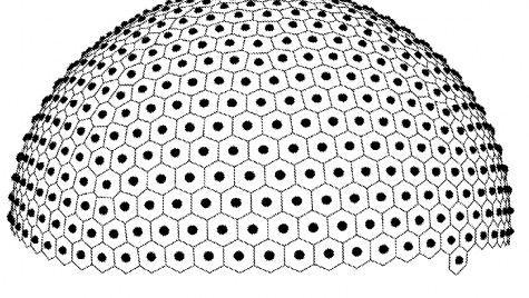 This is a 2016 sketch from inventor Cheng Guan Koay for a system and method for determining k-space views and diffusion weighting directions using centroidal voronoi tessellations. The figure depicts a new solution to the mathematical problem of distributing a set of points uniformly across the surface of a sphere. The problem is of great importance to modern biomedical imaging,