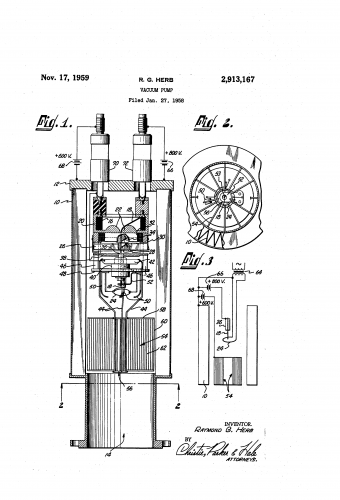 this is the sketch for a patent for a vacuum pump from raymond g