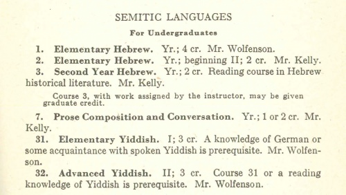 Photo: Catalog page listing Yiddish courses