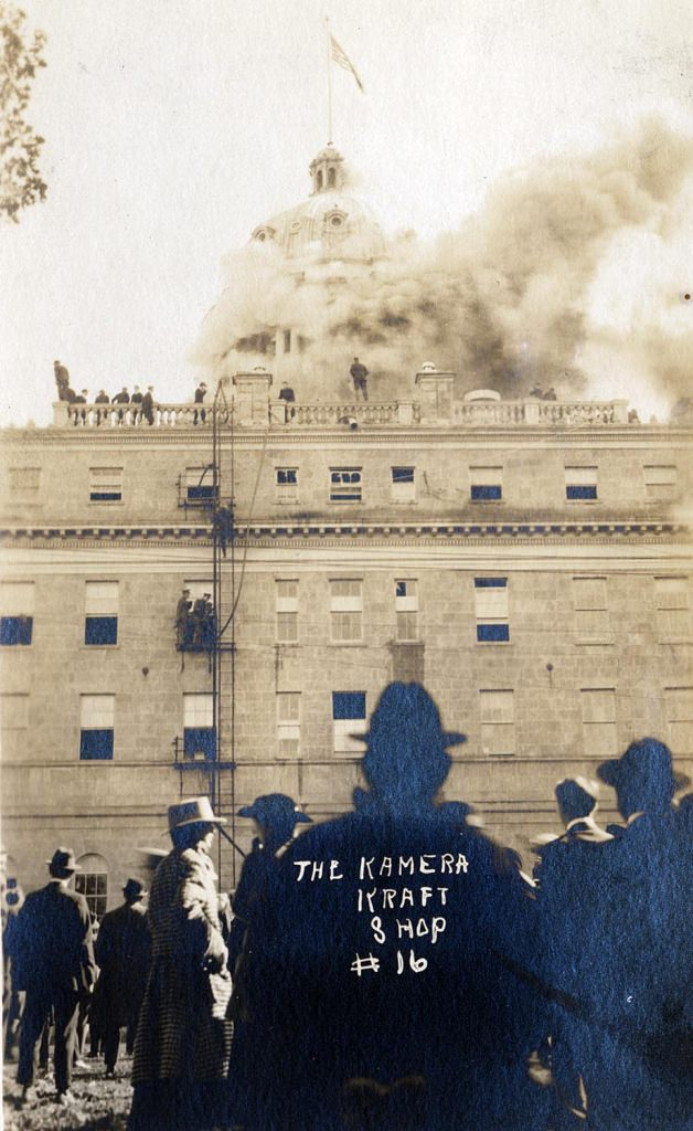 View from the ground of Bascom Hall's dome on fire on Oct. 10, 1916. The fire of unknown origin destroyed the dome, but the rest of the building was saved.