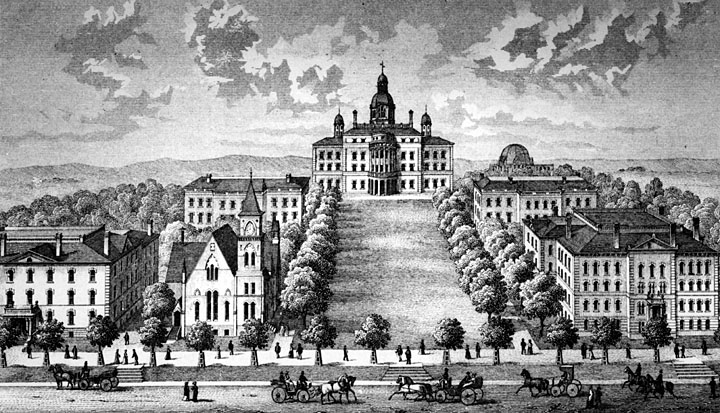 Bascom Hill, likely from 1878-1884, looking west across Park Street.  This image also depicts the first Science Hall, which burned down in December 1884, and Music Hall, which was completed in 1878. It does not show the Law Building, completed in 1891.