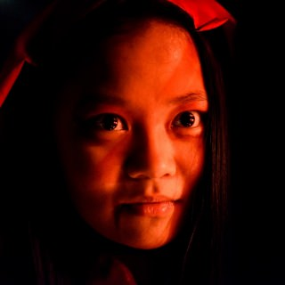 Student Linda Zheng, in costume as the dead bride.