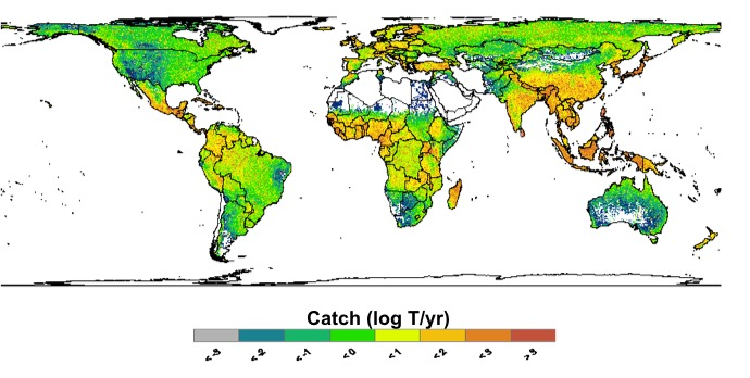 Photo: Map of areas most dependent on freshwater fish