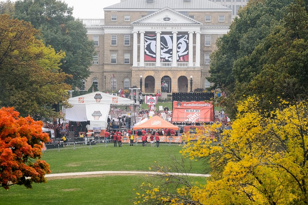 Hundreds gather on Bascom Hill for the three-hour broadcast.