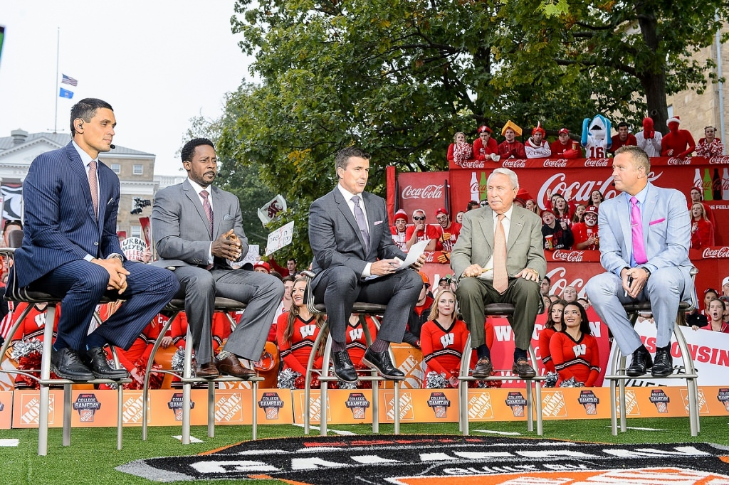 Fans came to Bascom Hill well before dawn Saturday hoping to make it into the backdrop of ESPN's College GameDay broadcast.
