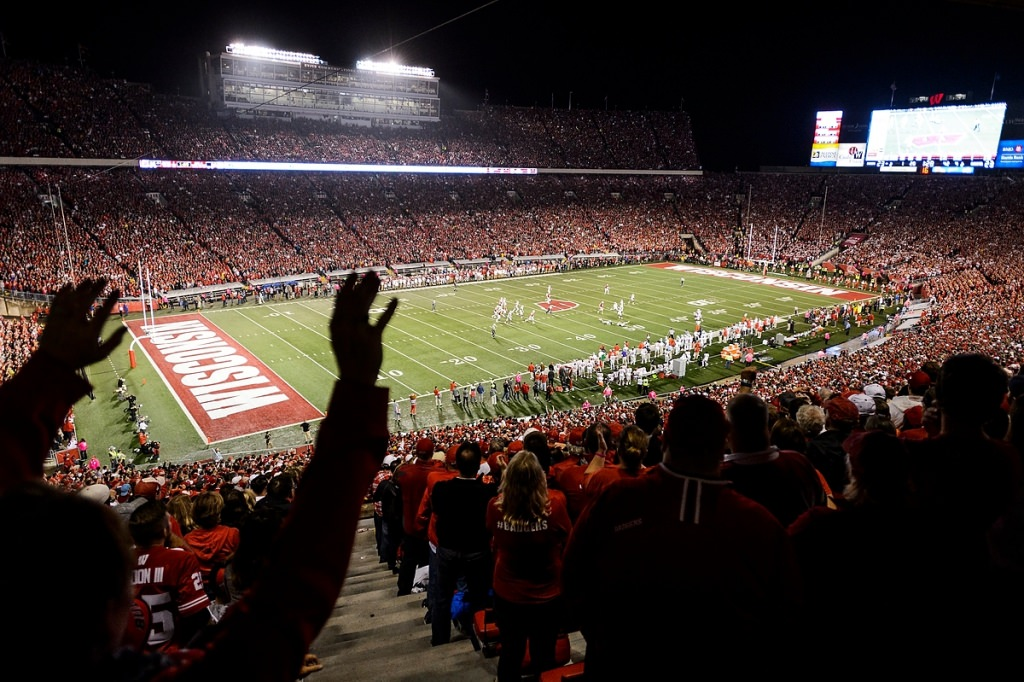 Badger fans cheer as the Wisconsin Badgers head into overtime on Oct. 15. Wisconsin lost to OSU, 23-30.