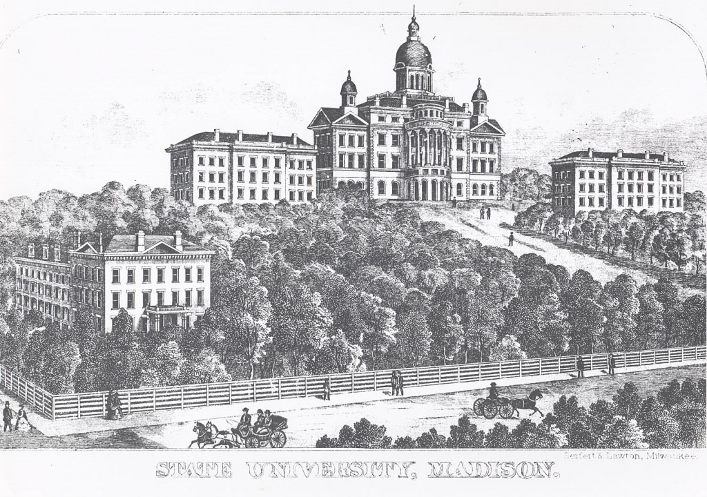Bascom Hall commanded the top of a wooded hill, which was populated with buildings as the years went on.