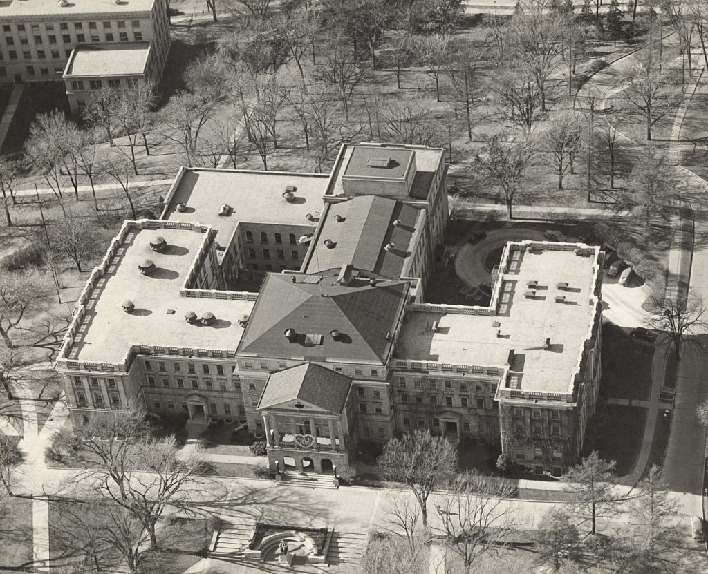 An aerial view of Bascom Hall in 1955 shows the rough modern configuration of the building.