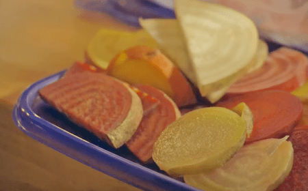 Photo: Chopped veggies on plate