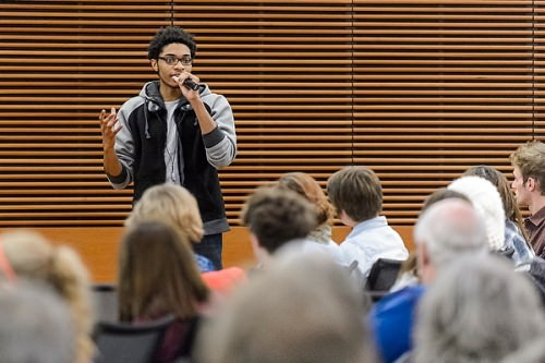 UW student Deshawn McKinney speaks In during a public roundtable discussion in 2014.