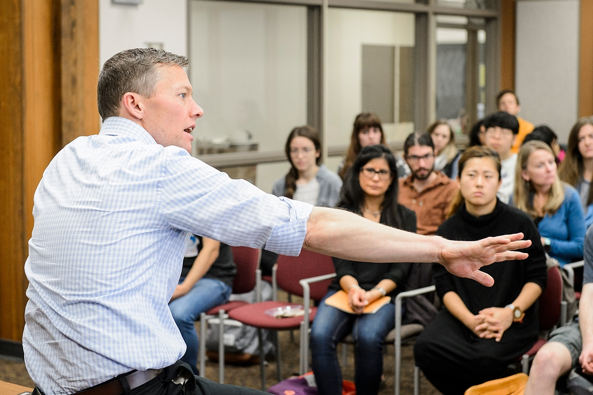 Go Big Read author and sociologist Matthew Desmond speaks to students and faculty Wednesday.