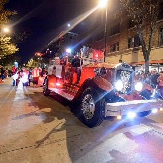 The Bucky Wagon lights up the night.