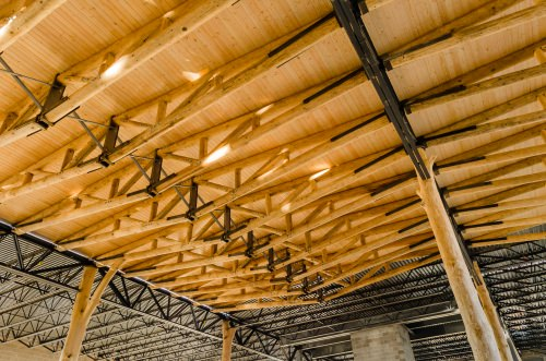"Award winner WholeTrees designs and fabricates building components from culled trees that are too small or odd-shaped to have value as saw timber. Pictured is the roof structure at Festival Foods, Madison. ""Nationally, poorly managed forests are a big problem,"" said CEO Amelia Baxter. ""These thinnings are all considered junk. There's no millable yield, no tax advantage so these forests will eventually be developed or cleared. We try to find the highest value for these cullings, which is to use them for their innate structure capacity."""
