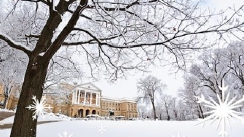 Photo illustration: Bascom Hall with snowflakes in front