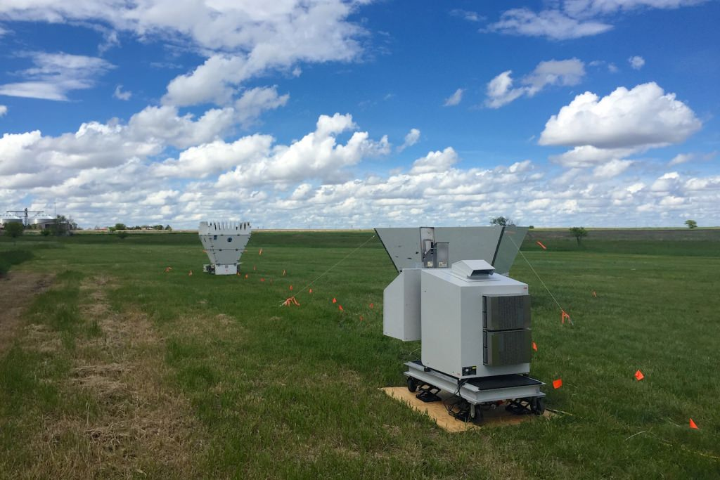 An Atmospheric Emitted Radiance Interferometer (AERI) operating during the Plains Elevated Convection At Night (PECAN) field campaign in 2015.