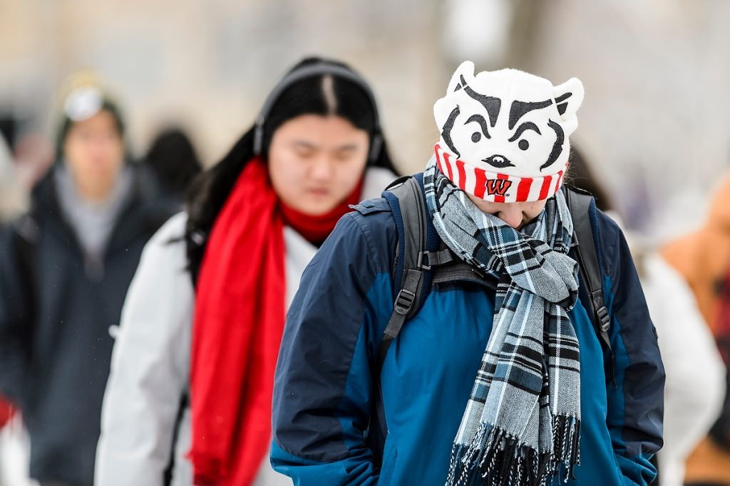 Photo: Student bundled in Bucky hat