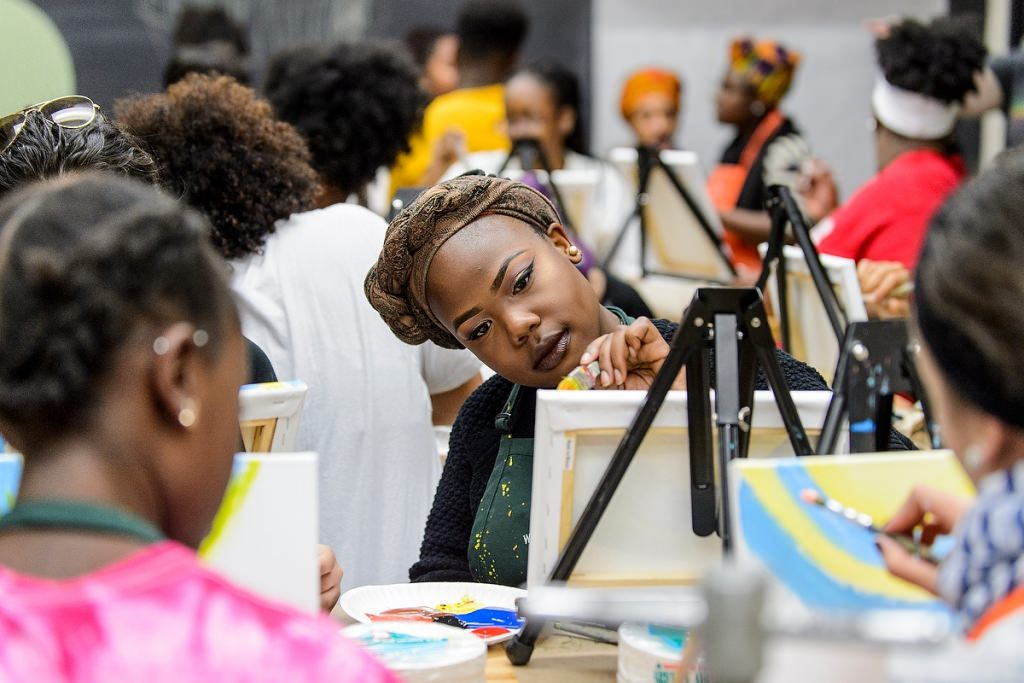 Photo: Students painting on canvases