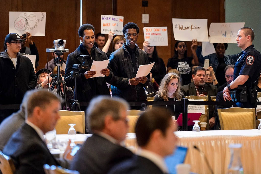 Photo: Students speaking at Board of Regents meeting