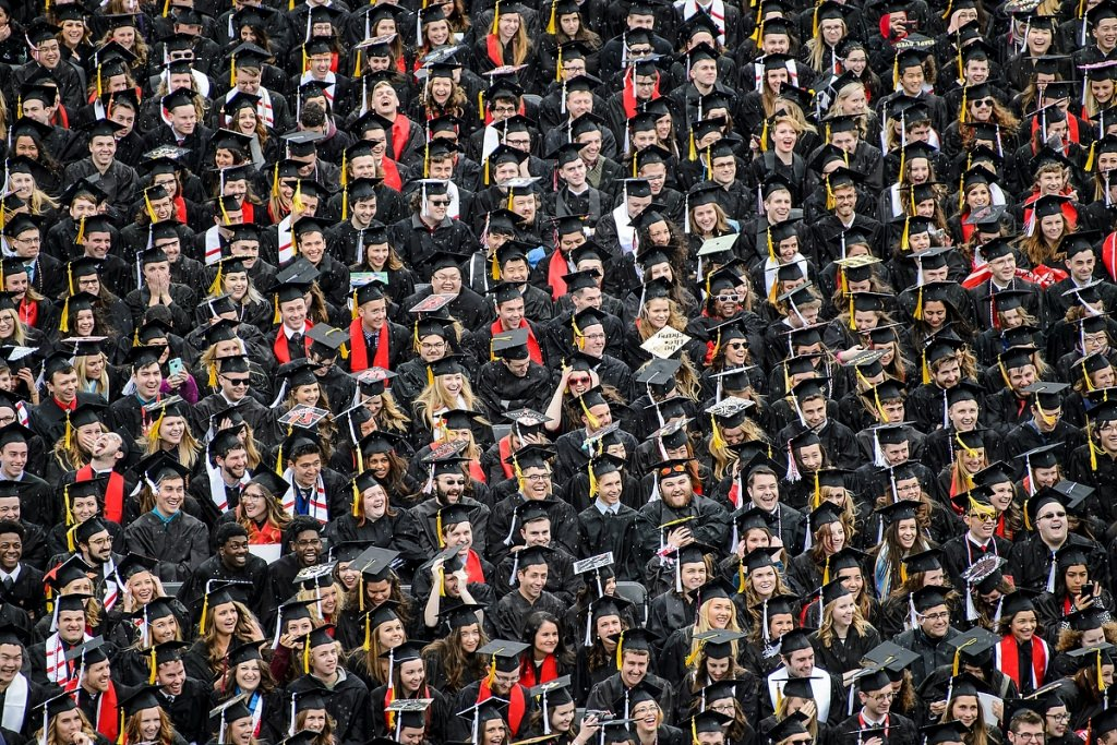 Photo: Students in caps and gowns