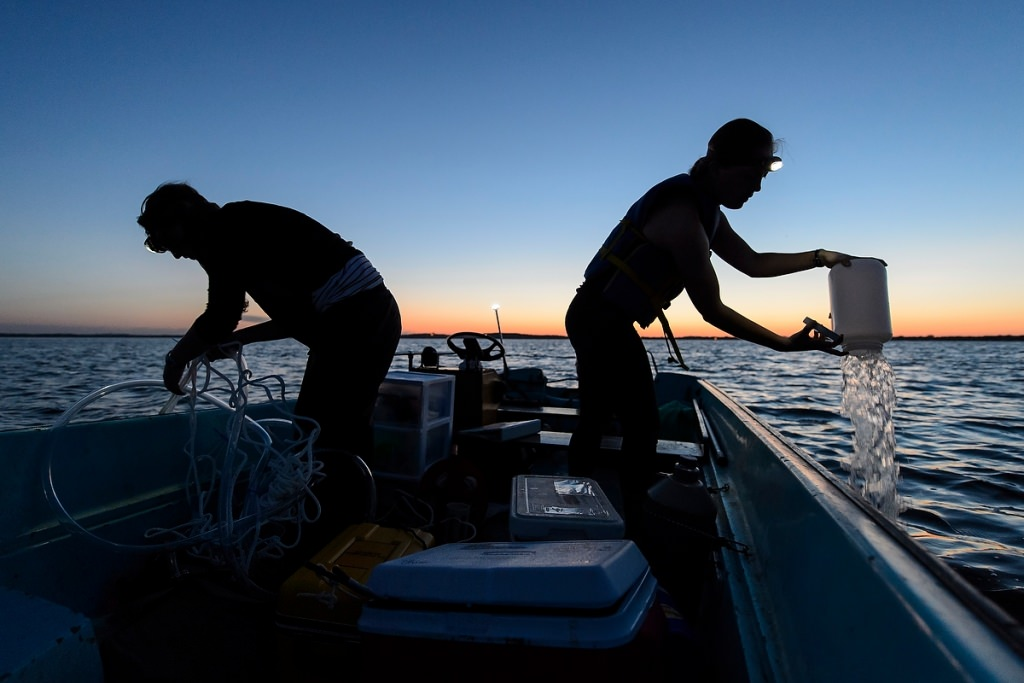 Photo: Researchers taking water samples