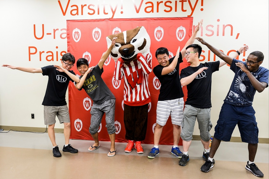 Photo: Students dabbing with Bucky