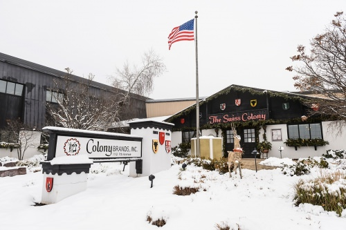 The headquarters for Colony Brands, Inc., is pictured in Monroe, Wis., during a snowy winter day.