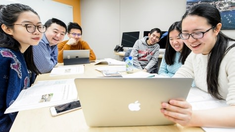 Students in Dan Pell's ESL 116 course study in the Active Learning Lab in the English as a Second Language  Department inside Helen C. White Hall.