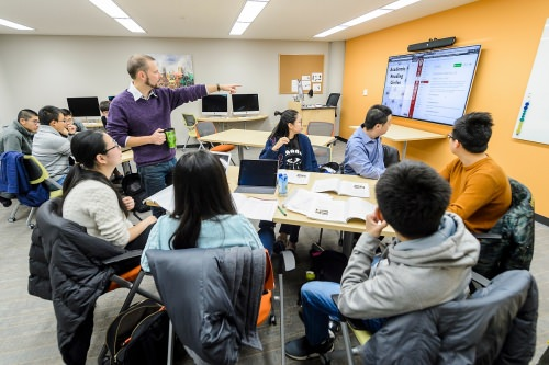 The new ESL active learning lab is configured for a number of teaching styles and equipped with a variety of technological learning tools.