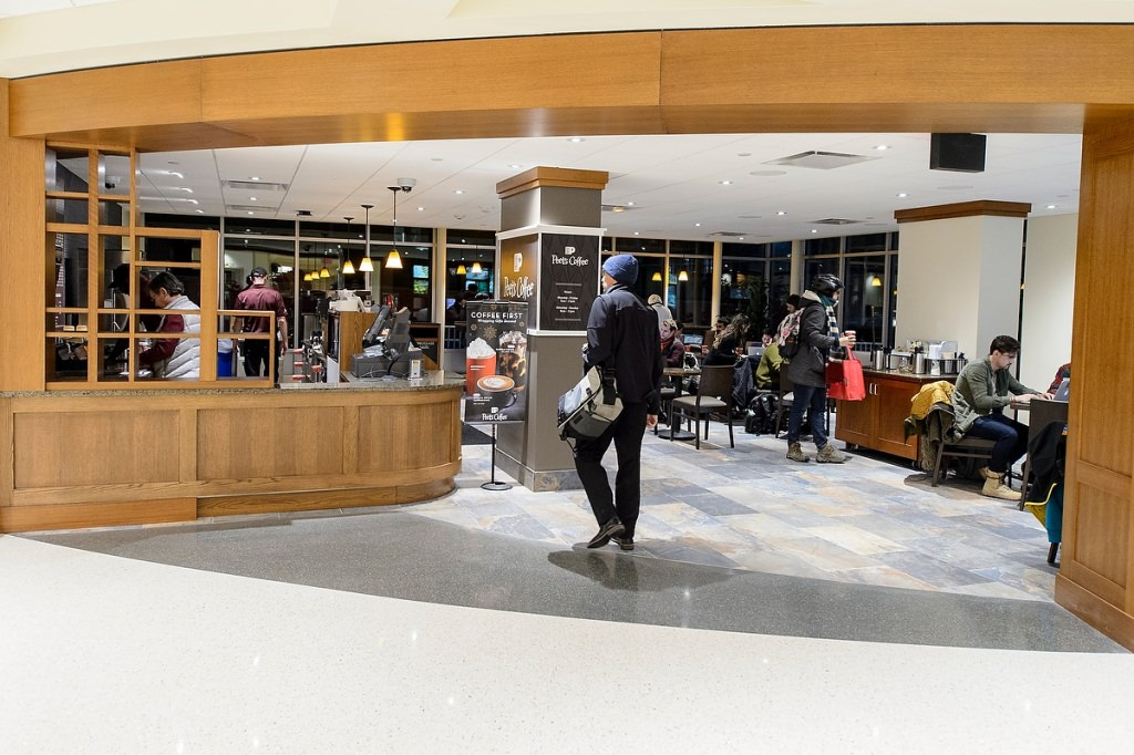 The reimagined, contemporary Peet's Coffee & Tea will offer more space for customers to relax, study and caffeinate.