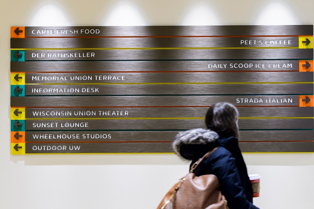 Photo: A way-finding sign directs visitors to new places and old favorities.