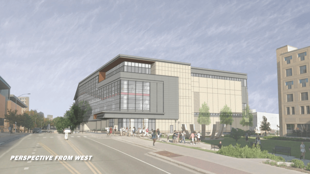 Illustration: Architect's rendering of exterior of new SERF building