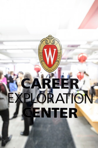 UW Chancellor Rebecca Blank and members of the campus community turn out for a grand opening ceremony at the Career Exploration Center (CEC) inside Ingraham Hall at the University of Wisconsin–Madison on Jan. 30, 2017. The CEC advisors help students explore majors and careers through a variety of ways including workshops and one-on-one advising sessions.(Photo by Bryce Richter / UW–Madison)