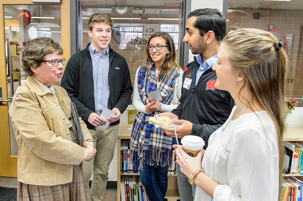 UW Chancellor Rebecca Blank speaks with students during a grand opening ceremony at the Career Exploration Center (CEC) inside Ingraham Hall.