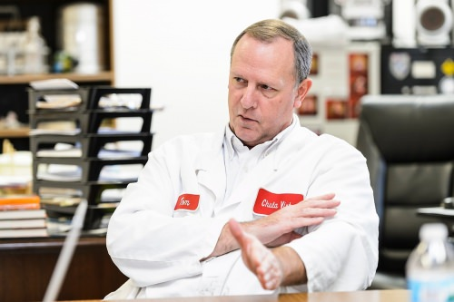 Tom Dahmen, plant manager at Chula Vista Cheese Company in Browntown, Wis., talks with a reporter on Dec. 27, 2016. Chula Vista Cheese created a successful Oaxaca-style of string cheese with the consulting and test-batch help of the Center for Dairy Research at the University of Wisconsin–Madison. (Photo by Jeff Miller/UW-Madison)