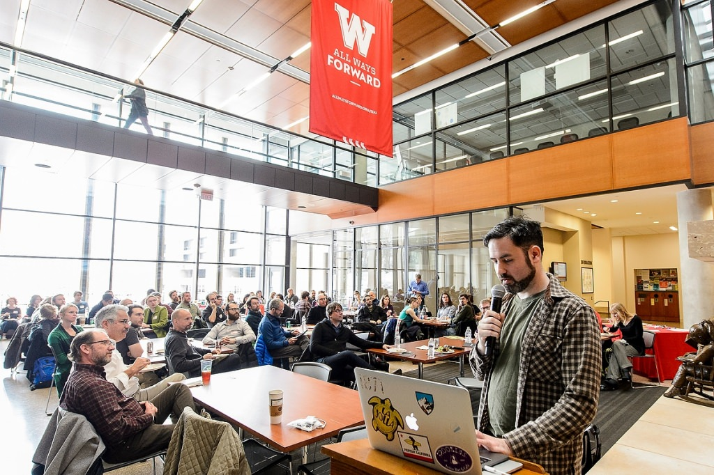 Dan Norton, CCO at Filament Games in Madison, Wisconsin, speaks to a group of UW-Madison researchers, Wisconsin K-12 teachers and principals, and state policymakers during a panel discussion on games in education on Jan. 27, 2017, in the Education Building atrium at the University of Wisconsin-Madison. (Photo by Bryce Richter / UW-Madison)