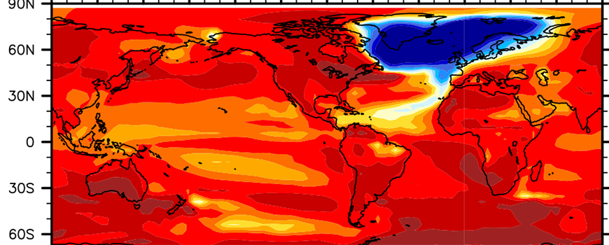 This image shows the North Atlantic Ocean cooling scenario following a collapse of Atlantic meridional overturning circulation.