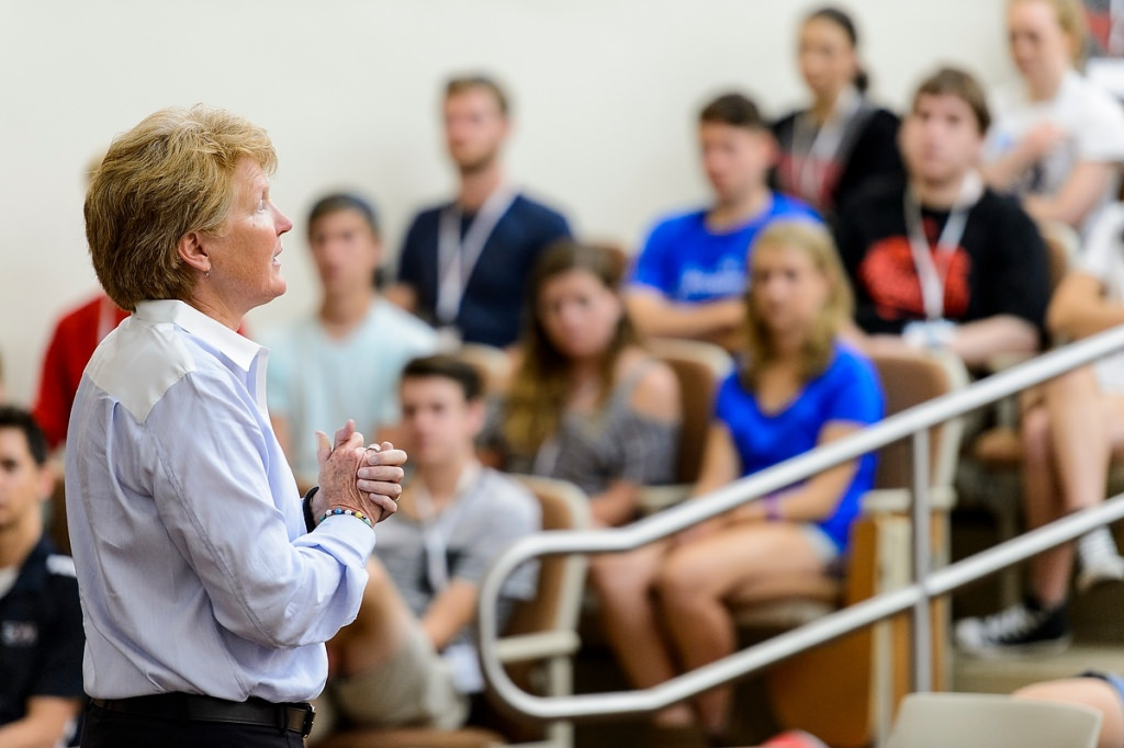 "Lori Berquam, vice provost for student life and dean of students, makes closing remarks based on the theme ""are you ready?"" while speaking to incoming first-year undergraduates during a Student Orientation, Advising and Registration (SOAR) session in a Sterling Hall classroom in June."