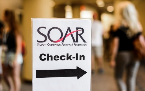 Incoming first-year undergraduates check in for the Student Orientation, Advising and Registration (SOAR) program at Union South in June.