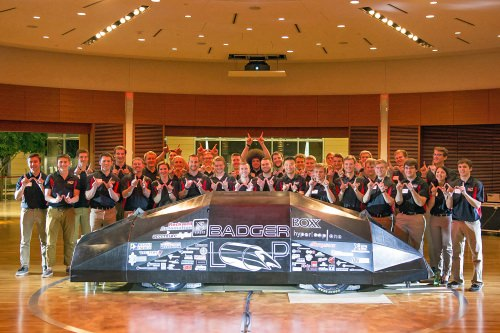The Badgerloop team poses with its pod.